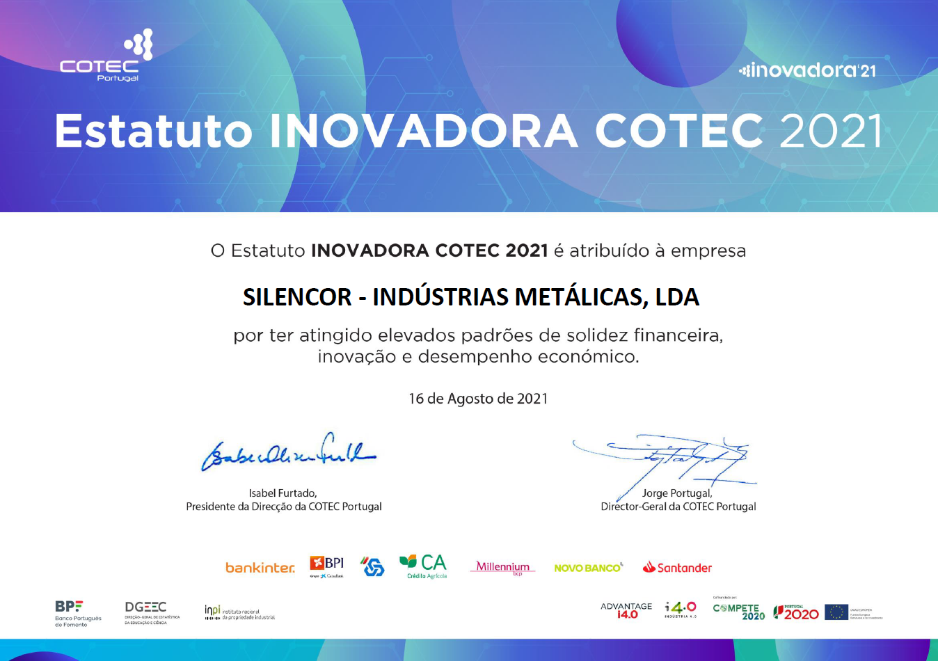 Certificado Estatuto INOVADORA COTEC 2021